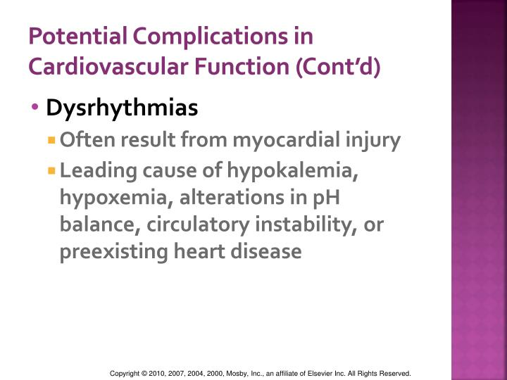 Potential Complications in Cardiovascular