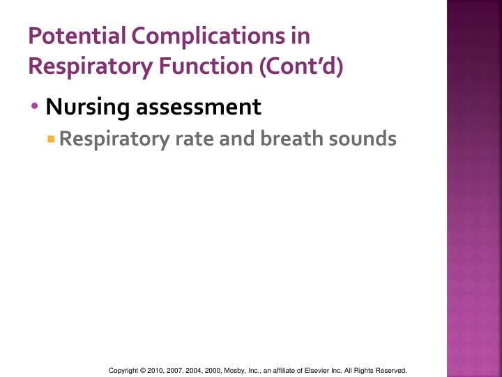 Potential Complications in Respiratory