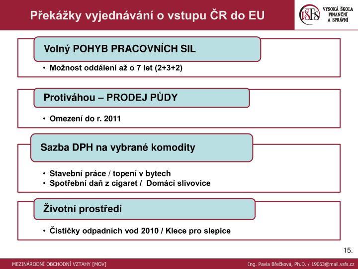 Překážky vyjednávání o vstupu ČR do EU