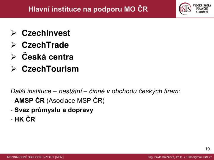 Hlavní instituce na podporu MO ČR