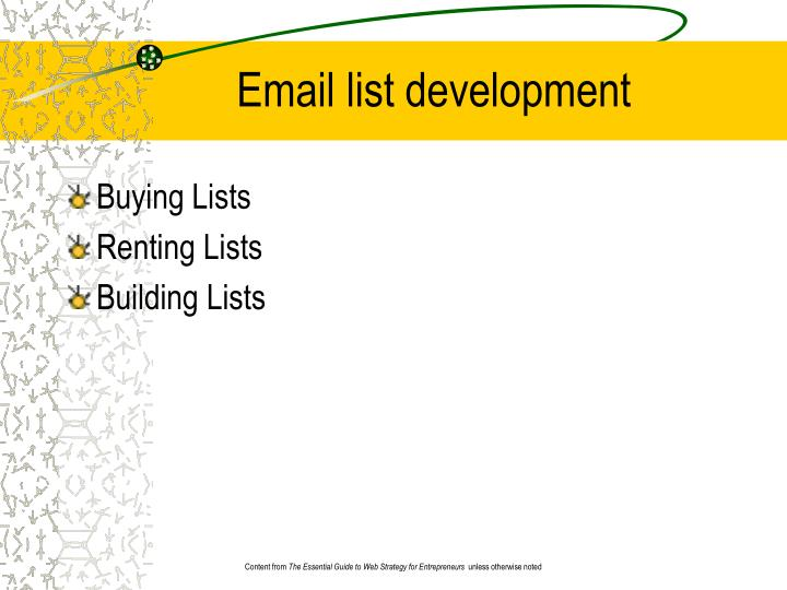 Email list development