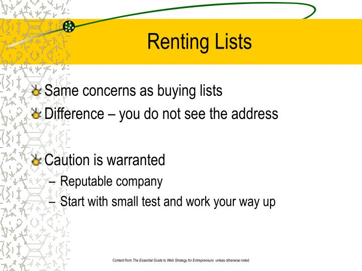 Renting Lists