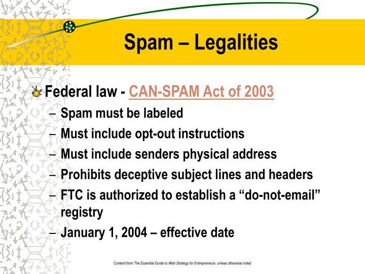 Spam – Legalities