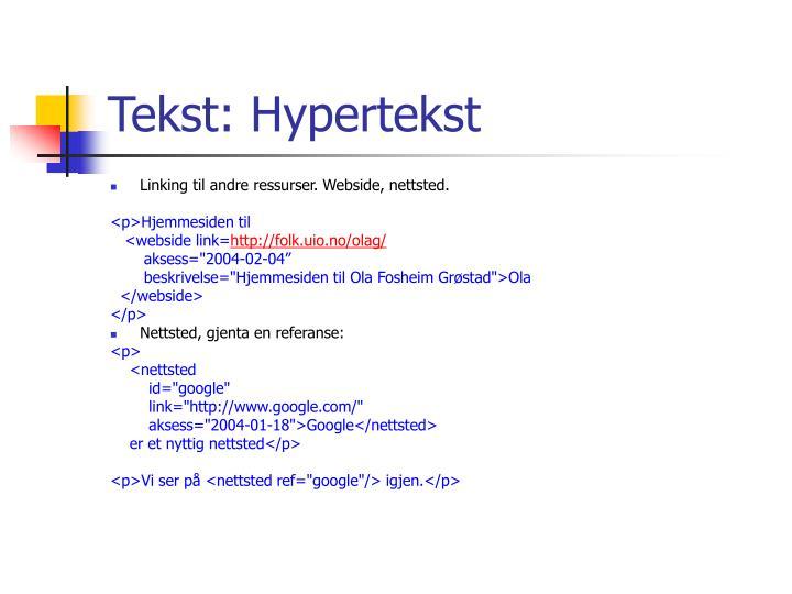 Tekst: Hypertekst