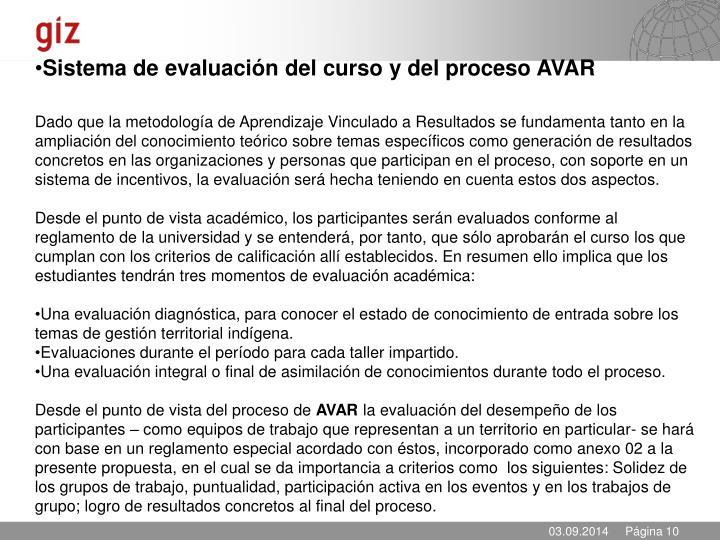Sistema de evaluación del curso y del proceso AVAR