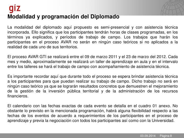 Modalidad y programación del Diplomado