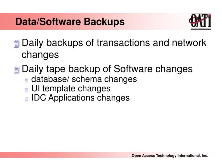 Data/Software Backups
