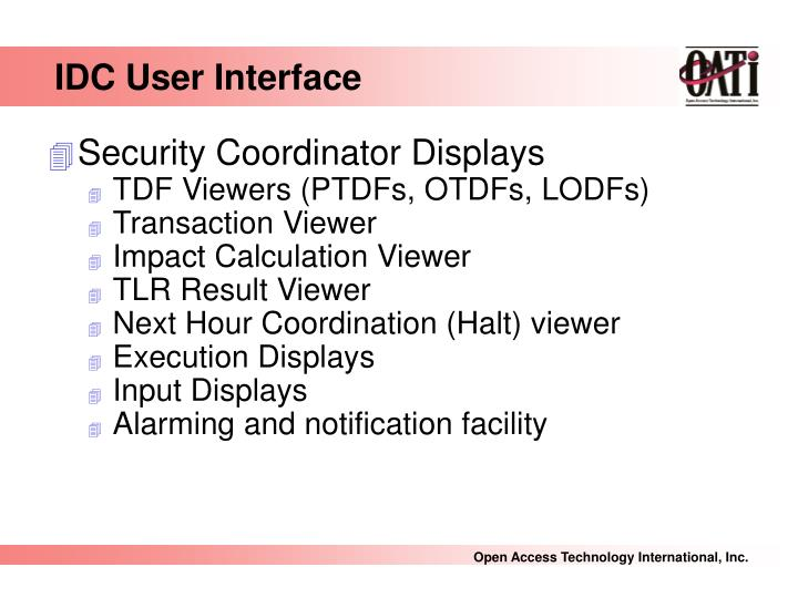 IDC User Interface