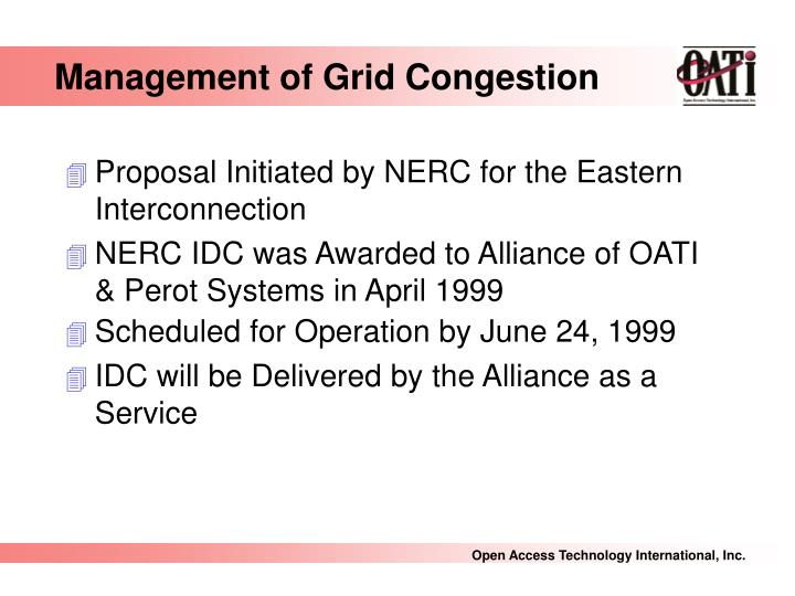 Management of Grid Congestion