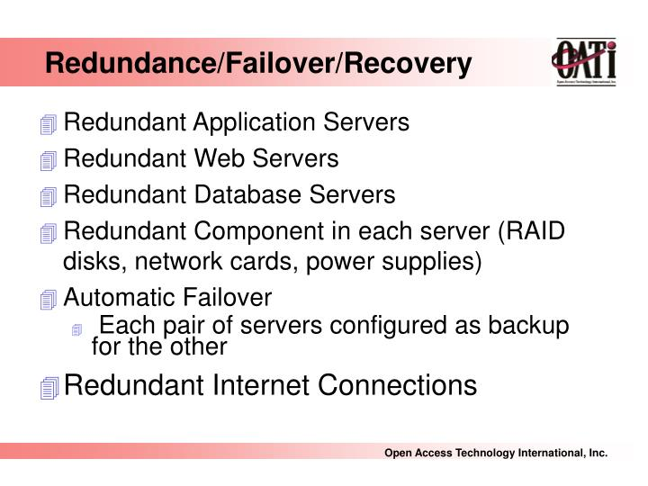 Redundance/Failover/Recovery