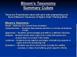 bloom s taxonomy summary cubes