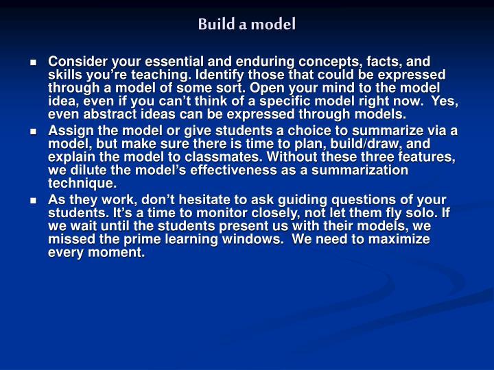 Build a model