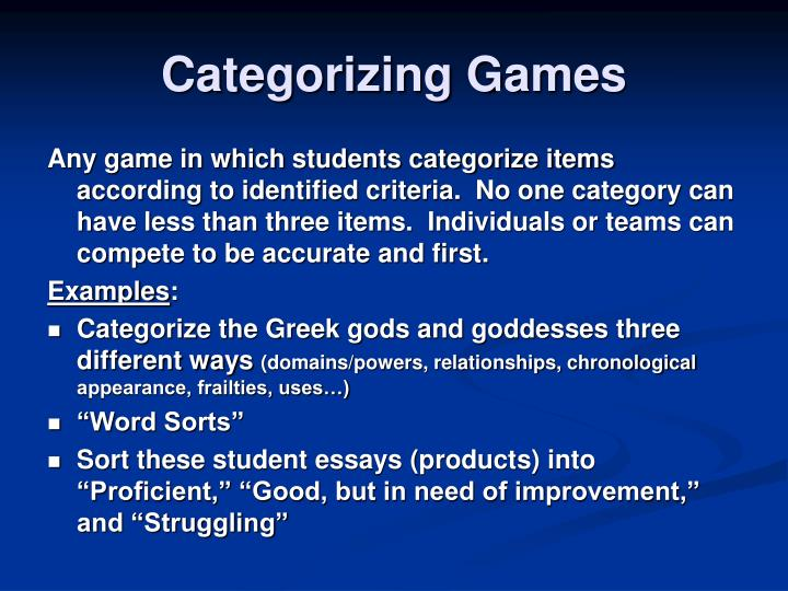 Categorizing Games