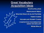 great vocabulary acquisition ideas