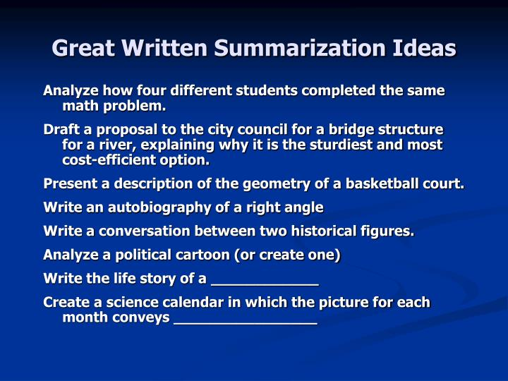 Great Written Summarization Ideas