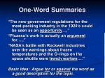 one word summaries