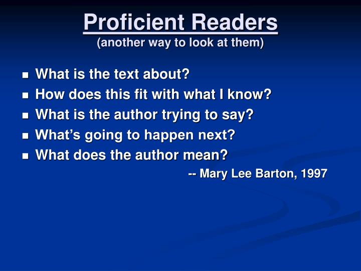 Proficient Readers