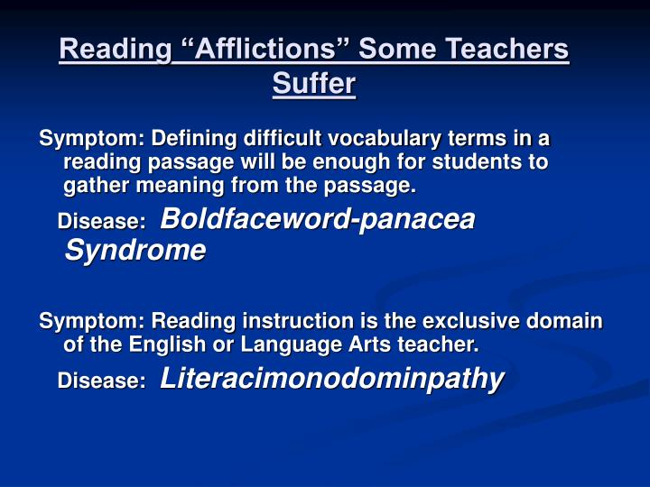 "Reading ""Afflictions"" Some Teachers Suffer"