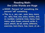 reading math the little words are huge