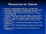 resources for games