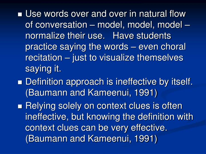 Use words over and over in natural flow of conversation – model, model, model – normalize their use.   Have students practice saying the words – even choral recitation – just to visualize themselves saying it.