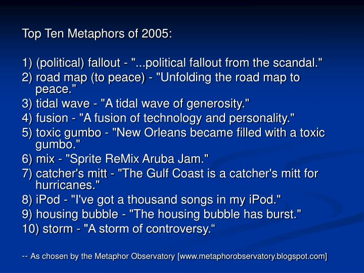 Top Ten Metaphors of 2005: