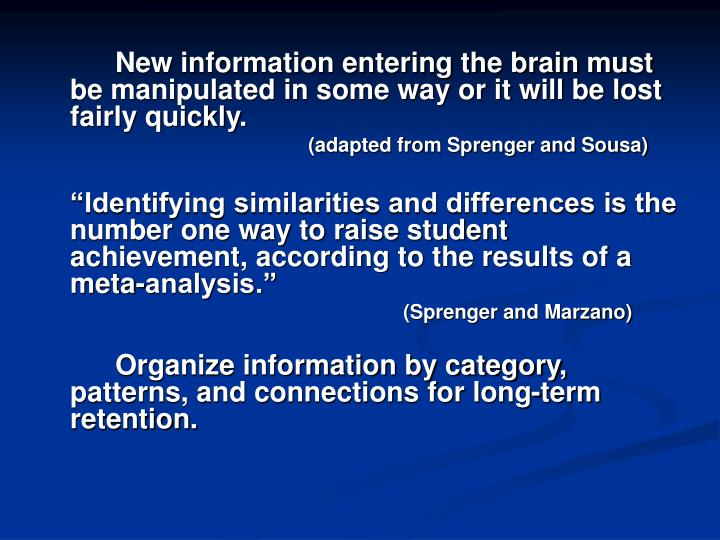 New information entering the brain must be manipulated in some way or it will be lost fairly quickly.
