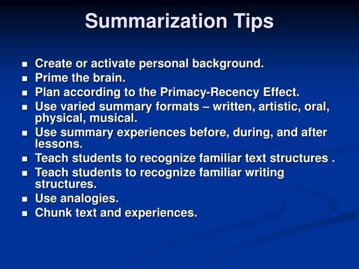 Summarization Tips