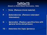 targets based on rules based summaries 1968