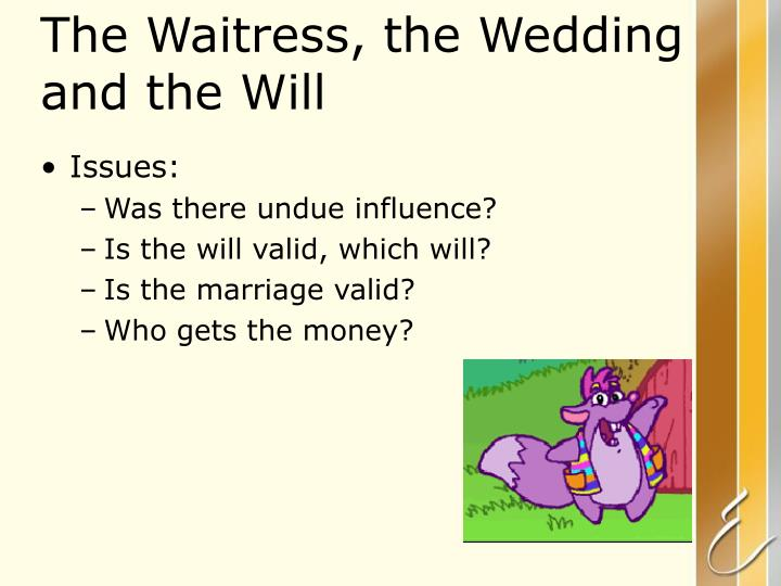 The Waitress, the Wedding and the Will