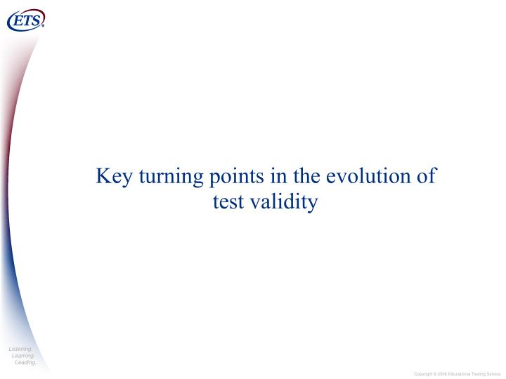 Key turning points in the evolution of test validity