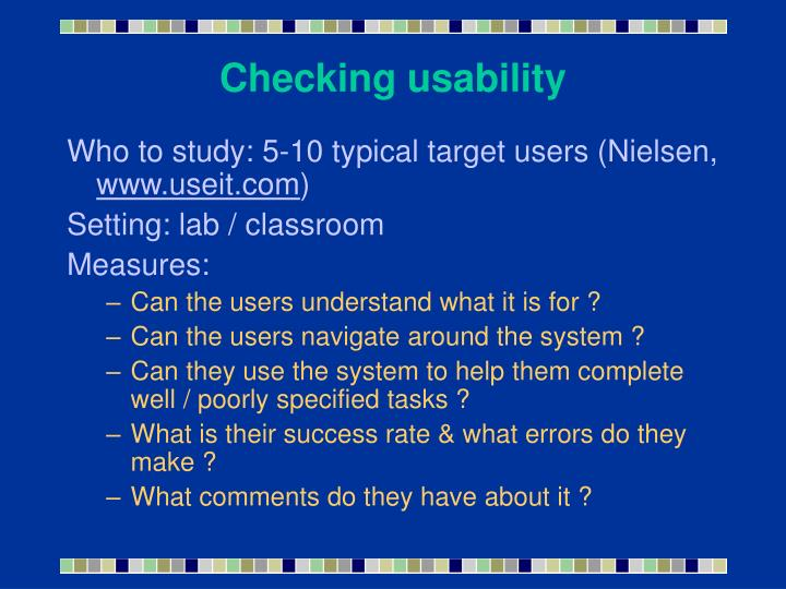 Checking usability