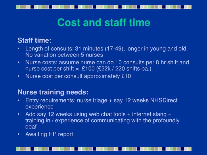 Cost and staff time