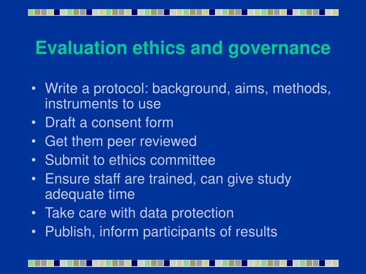 Evaluation ethics and governance