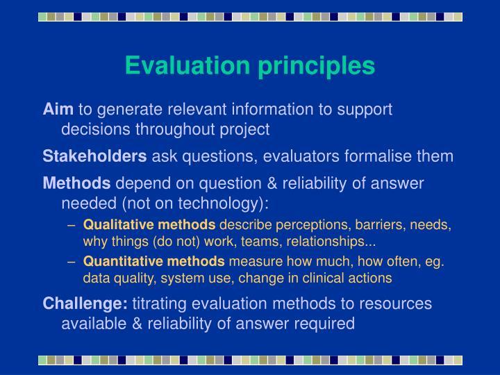 Evaluation principles