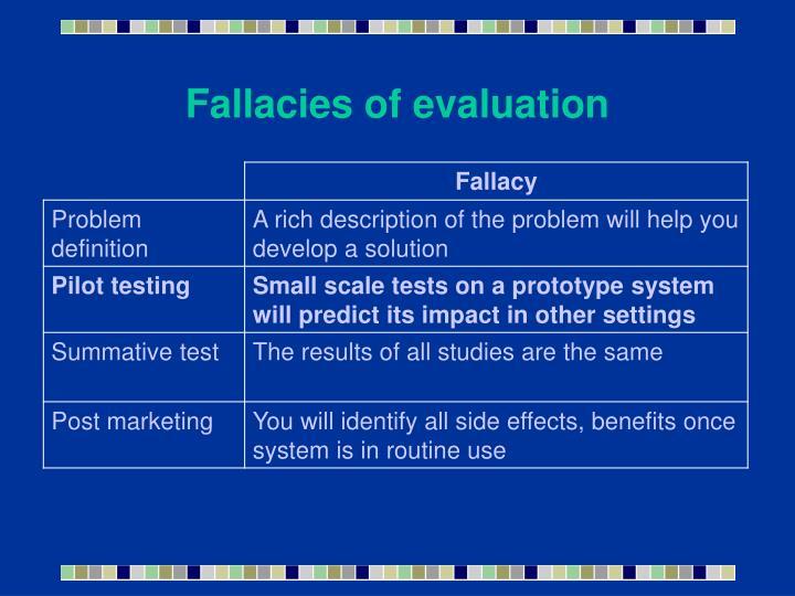 Fallacies of evaluation