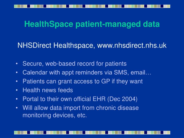 HealthSpace patient-managed data