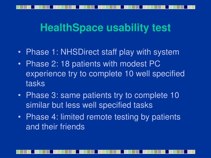 HealthSpace usability test