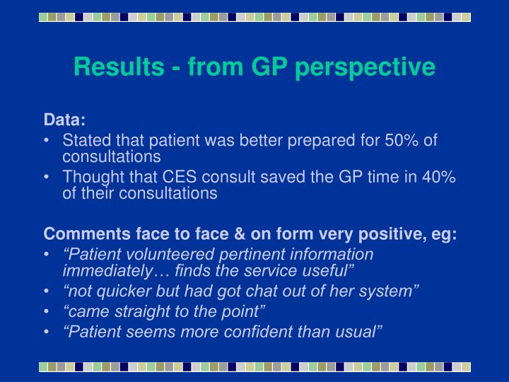 Results - from GP perspective