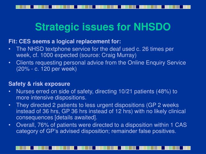 Strategic issues for NHSDO