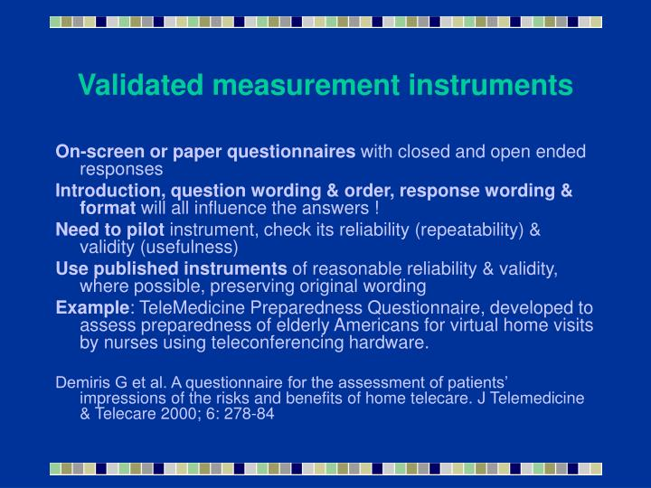 Validated measurement instruments