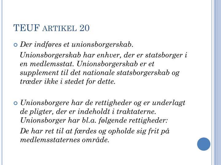 TEUF artikel 20