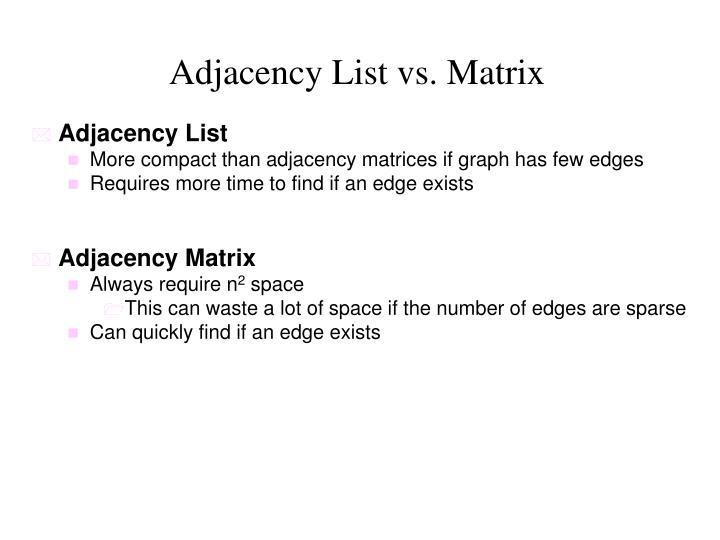 Adjacency List vs. Matrix