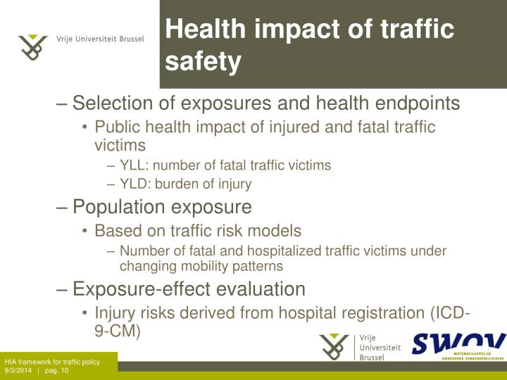 Health impact of traffic safety