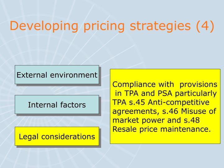 Developing pricing strategies (4)