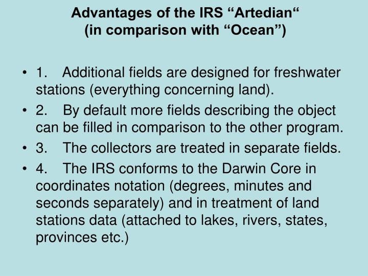 "Advantages of the IRS ""Artedian"""