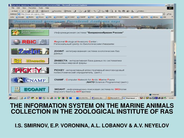 THE INFORMATION SYSTEM ON THE MARINE ANIMALS COLLECTION IN THE ZOOLOGICAL INSTITUTE OF RAS