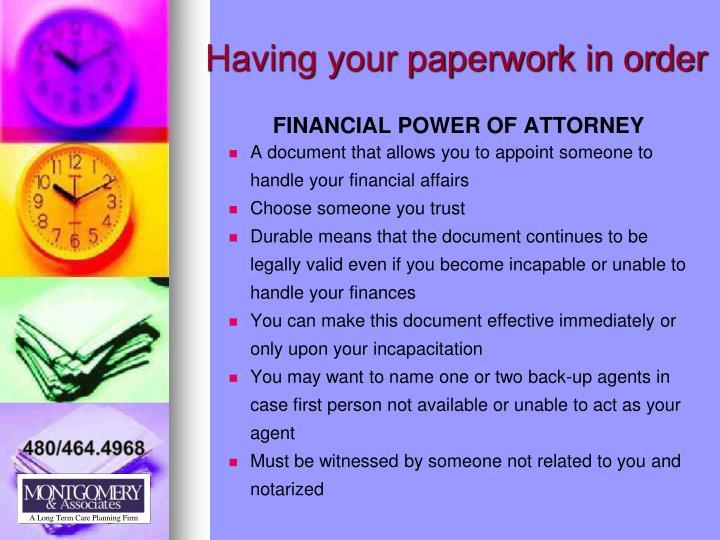 Having your paperwork in order