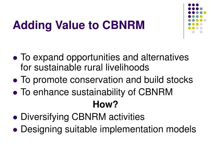 Adding Value to CBNRM