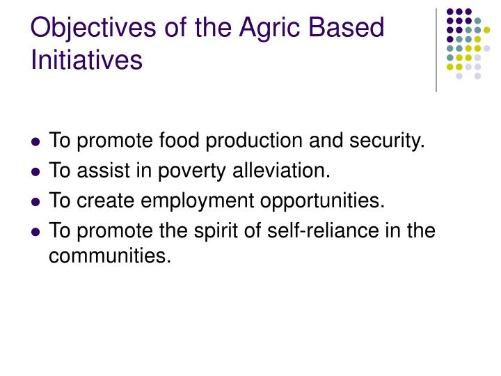 Objectives of the Agric Based Initiatives